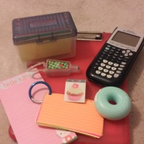 Index cards, calculator, scotch tape, clipboard, hand sanitizer, notepad, bookmarker, that type of stuff